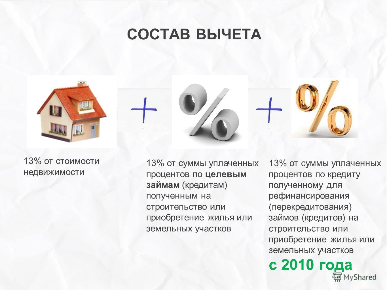 ++++++ СОСТАВ ВЫЧЕТА 13% от стоимости недвижимости 13% от суммы уплаченных процентов по целевым займам (кредитам) полученным на строительство или приобретение жилья или земельных участков 13% от суммы уплаченных процентов по кредиту полученному для р