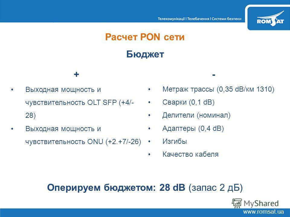 www.romsat.ua Расчет PON сети Бюджет + Выходная мощность и чувствительность OLT SFP (+4/- 28) Выходная мощность и чувствительность ONU (+2.+7/-26) - Метраж трассы (0,35 dB/км 1310) Сварки (0,1 dB) Делители (номинал) Адаптеры (0,4 dB) Изгибы Качество