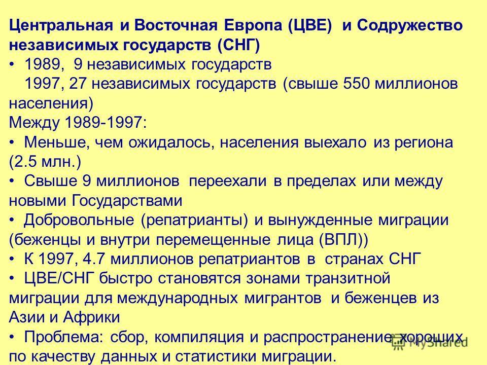 Центральная и Восточная Европа (ЦВЕ) и Содружество независимых государств (СНГ) 1989, 9 независимых государств 1997, 27 независимых государств (свыше 550 миллионов населения) Между 1989-1997: Меньше, чем ожидалось, населения выехало из региона (2.5 м