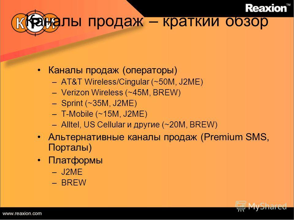 Каналы продаж – краткий обзор Каналы продаж (операторы) –AT&T Wireless/Cingular (~50M, J2ME) –Verizon Wireless (~45M, BREW) –Sprint (~35M, J2ME) –T-Mobile (~15M, J2ME) –Alltel, US Cellular и другие (~20M, BREW) Альтернативные каналы продаж (Premium S