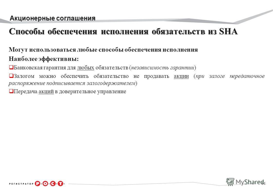 Акционерные соглашения Способы обеспечения исполнения обязательств из SHA Могут использоваться любые способы обеспечения исполнения Наиболее эффективны: Банковская гарантия для любых обязательств (независимость гарантии) Залогом можно обеспечить обяз