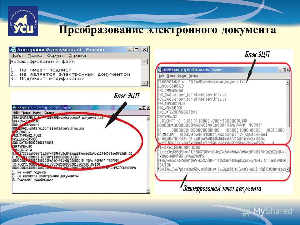 Преобразование электронного документа
