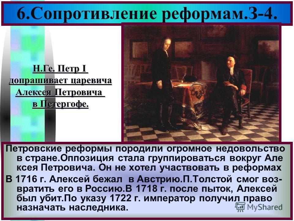 Меню 6.Сопротивление реформам.З-4. Петровские реформы породили огромное недовольство в стране.Оппозиция стала группироваться вокруг Але ксея Петровича. Он не хотел участвовать в реформах В 1716 г. Алексей бежал в Австрию.П.Толстой смог воз- вратить е