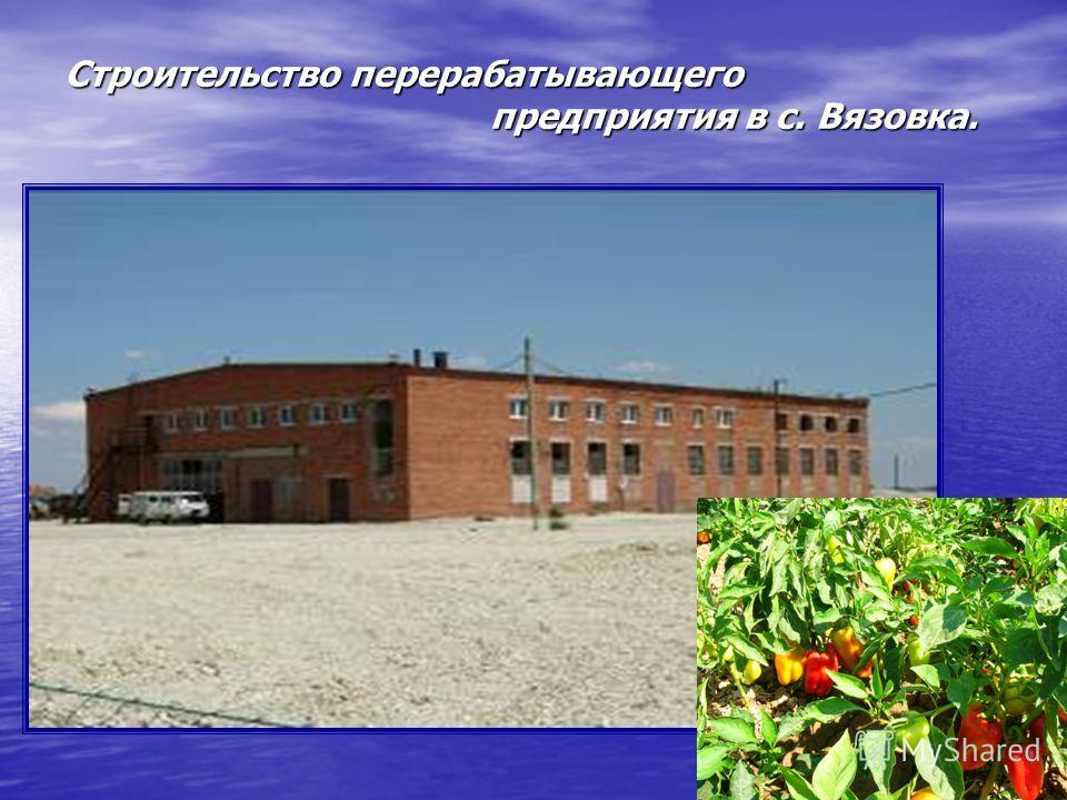 Строительство перерабатывающего предприятия в с. Вязовка.