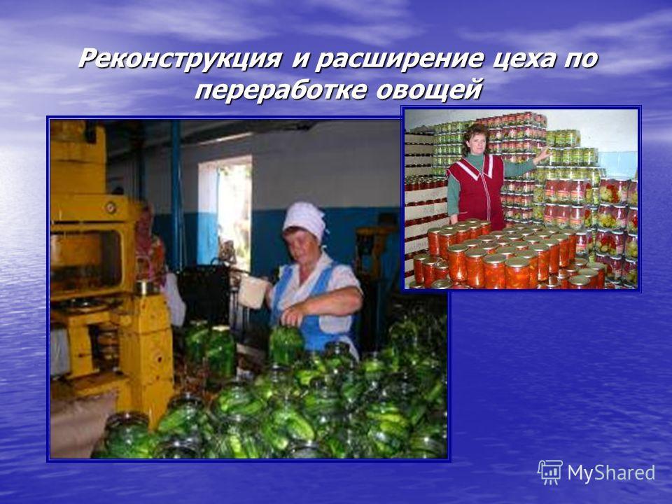 Реконструкция и расширение цеха по переработке овощей