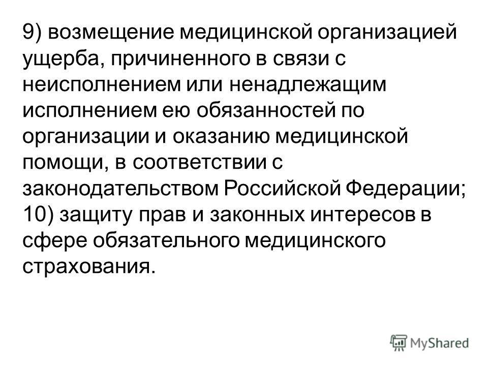 9) возмещение медицинской организацией ущерба, причиненного в связи с неисполнением или ненадлежащим исполнением ею обязанностей по организации и оказанию медицинской помощи, в соответствии с законодательством Российской Федерации; 10) защиту прав и