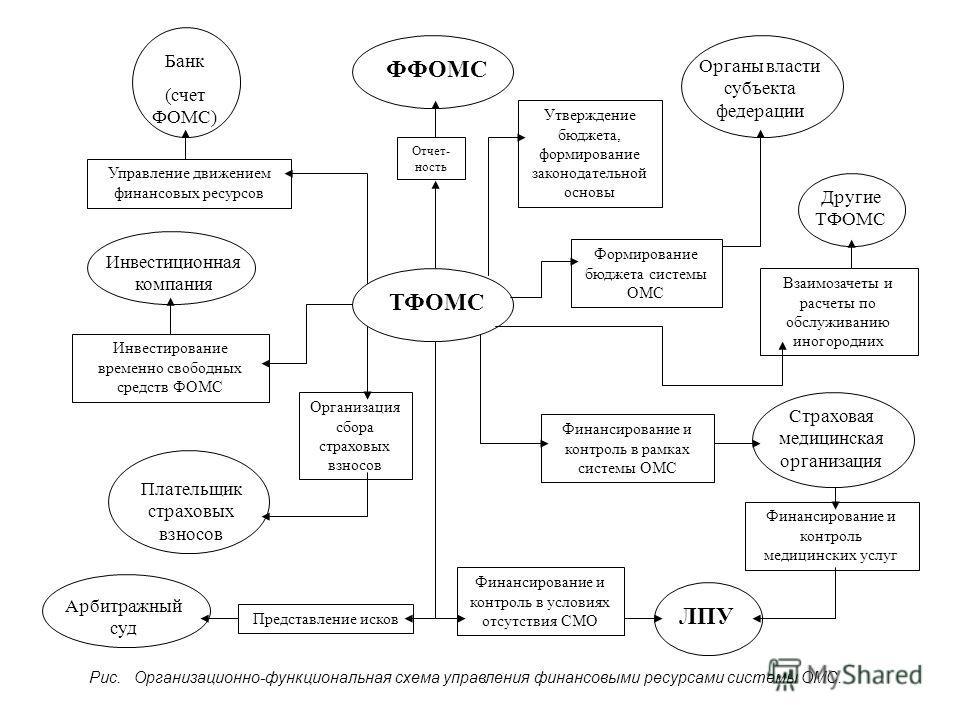 Отчет- ность Утверждение бюджета, формирование законодательной основы Формирование бюджета системы ОМС Взаимозачеты и расчеты по обслуживанию иногородних Финансирование и контроль в рамках системы ОМС Управление движением финансовых ресурсов Инвестир