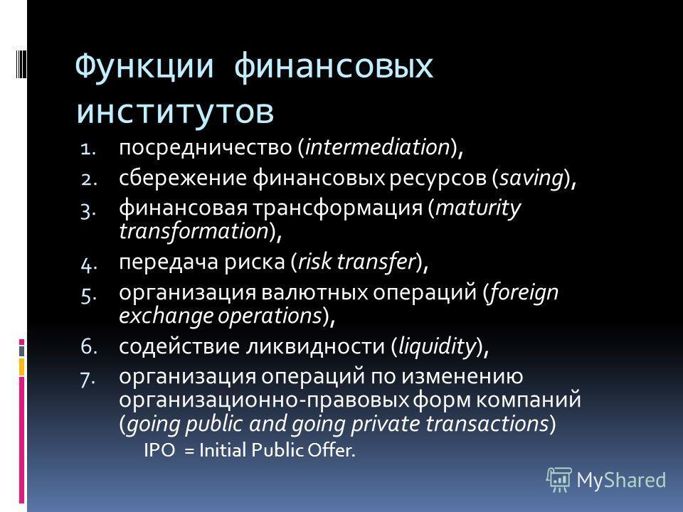 Функции финансовых институтов 1. посредничество (intermediation), 2. сбережение финансовых ресурсов (saving), 3. финансовая трансформация (maturity transformation), 4. передача риска (risk transfer), 5. организация валютных операций (foreign exchange