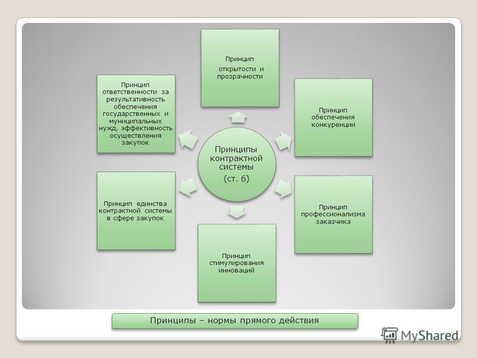 Принципы контрактной системы (ст. 6) Принцип открытости и прозрачности Принцип обеспечения конкуренции Принцип профессионализма заказчика Принцип стимулирования инноваций Принцип единства контрактной системы в сфере закупок Принцип ответственности за