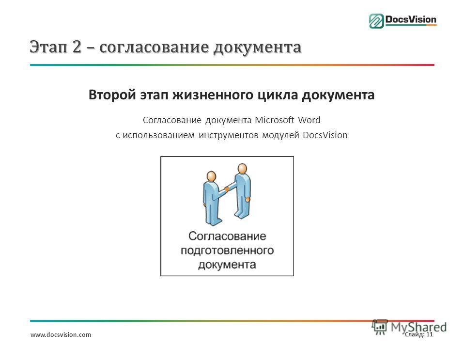 www.docsvision.com Слайд: 11 Этап 2 – согласование документа Второй этап жизненного цикла документа Согласование документа Microsoft Word с использованием инструментов модулей DocsVision