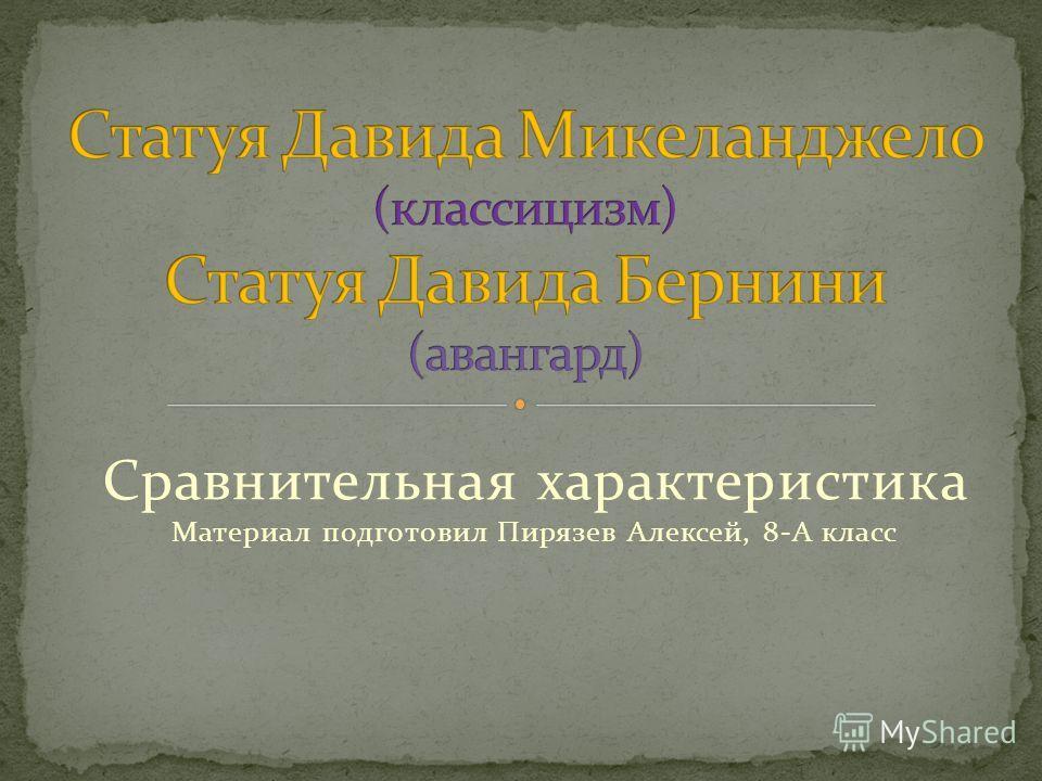 Сравнительная характеристика Материал подготовил Пирязев Алексей, 8-А класс