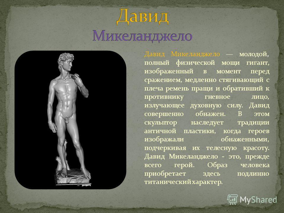 Давид Микеланджело молодой, полный физической мощи гигант, изображенный в момент перед сражением, медленно стягивающий с плеча ремень пращи и обративший к противнику гневное лицо, излучающее духовную силу. Давид совершенно обнажен. В этом скульптор н