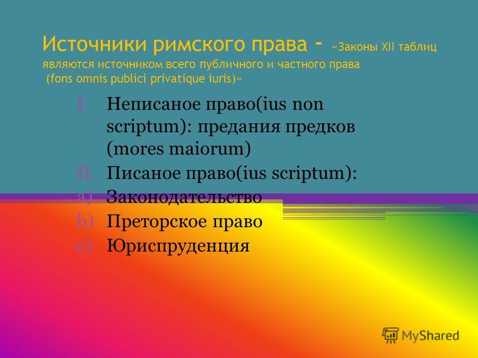 Источники римского права - «Законы XII таблиц являются источником всего публичного и частного права (fons omnis publici privatique iuris)» I.Неписаное право(ius non scriptum): предания предков (mores maiorum) II.Писаное право(ius scriptum): a)Законод