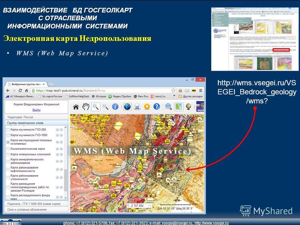 phone: +7 (812) 321-5706, fax: +7 (812) 321-3023; e-mail: vsegei@vsegei.ru, http://www.vsegei.ru WMS (Web Map Service) Электронная карта Недропользования http://wms.vsegei.ru/VS EGEI_Bedrock_geology /wms? ВЗАИМОДЕЙСТВИЕ БД ГОСГЕОЛКАРТ С ОТРАСЛЕВЫМИ И