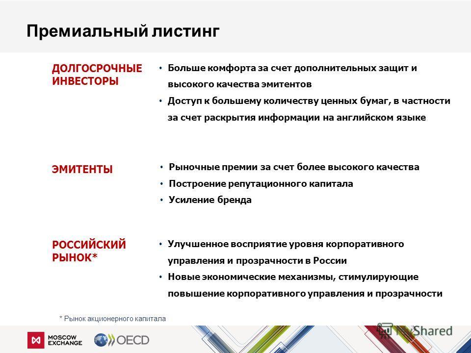 Улучшенное восприятие уровня корпоративного управления и прозрачности в России Новые экономические механизмы, стимулирующие повышение корпоративного управления и прозрачности Рыночные премии за счет более высокого качества Построение репутационного к