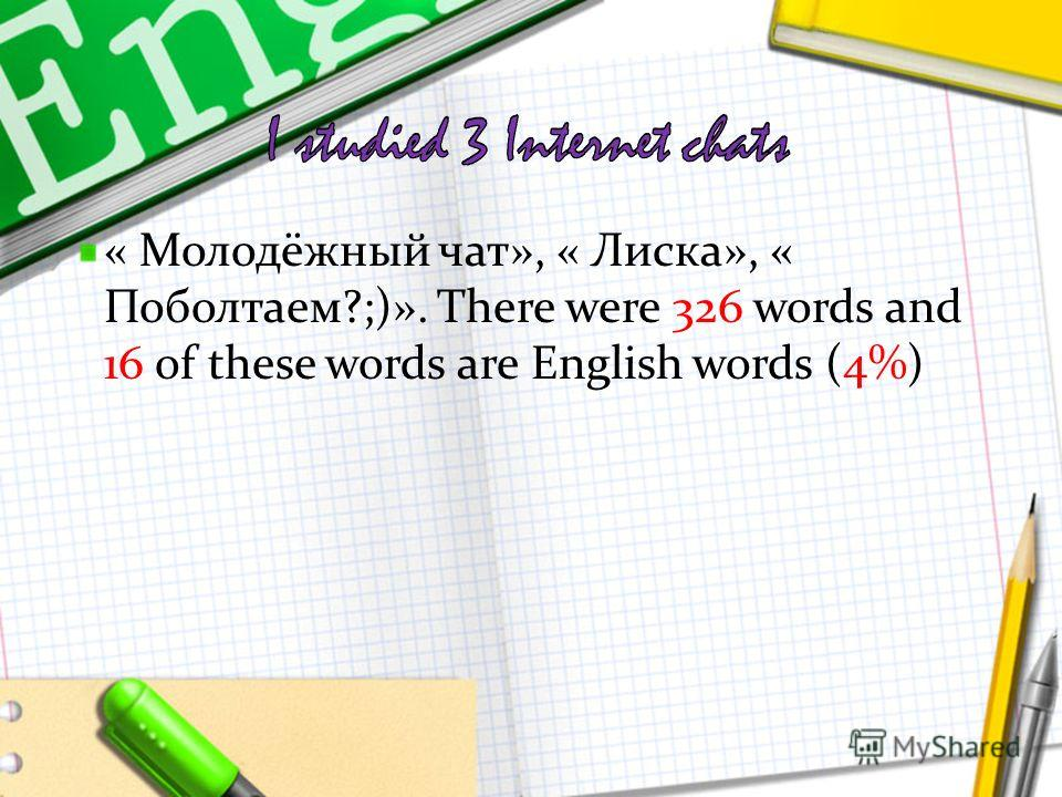 « Молодёжный чат», « Лиска», « Поболтаем?;)». There were 326 words and 16 of these words are English words (4%)