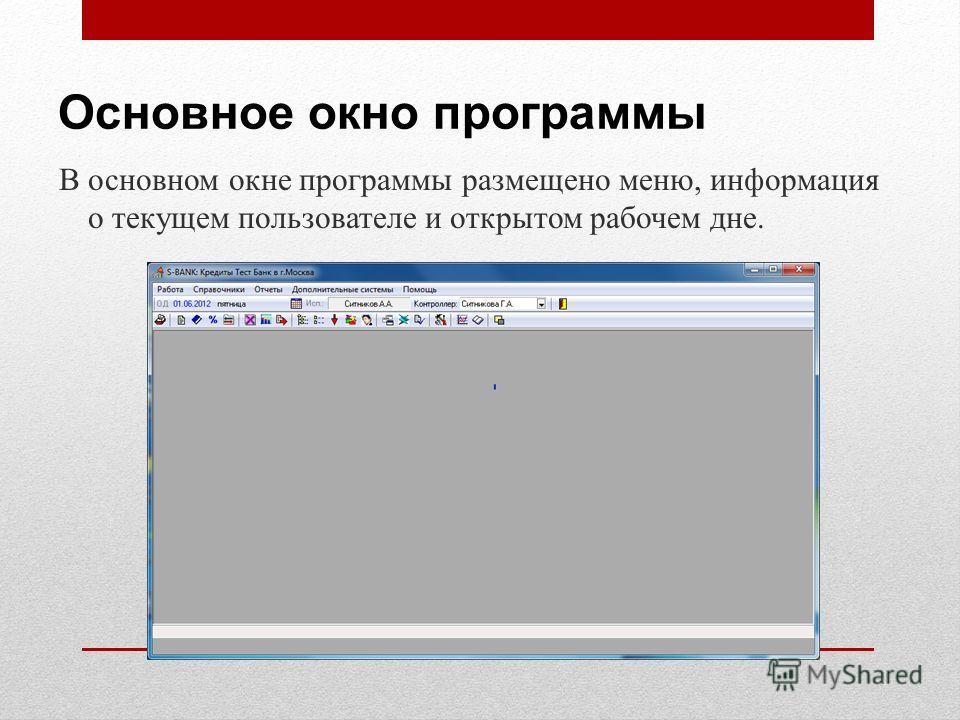 Основное окно программы В основном окне программы размещено меню, информация о текущем пользователе и открытом рабочем дне.