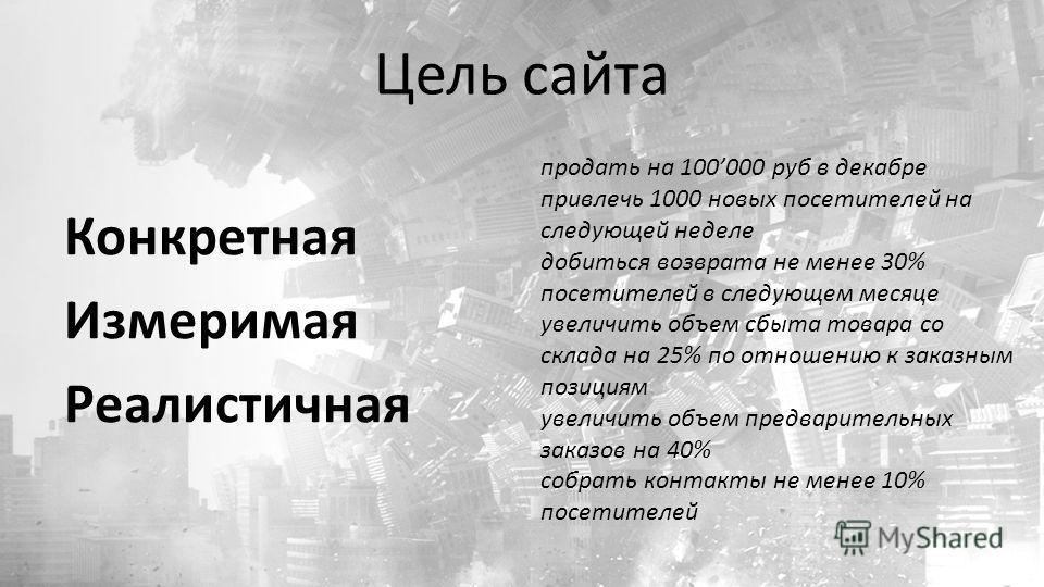 Цель сайта Конкретная Измеримая Реалистичная продать на 100000 руб в декабре привлечь 1000 новых посетителей на следующей неделе добиться возврата не менее 30% посетителей в следующем месяце увеличить объем сбыта товара со склада на 25% по отношению