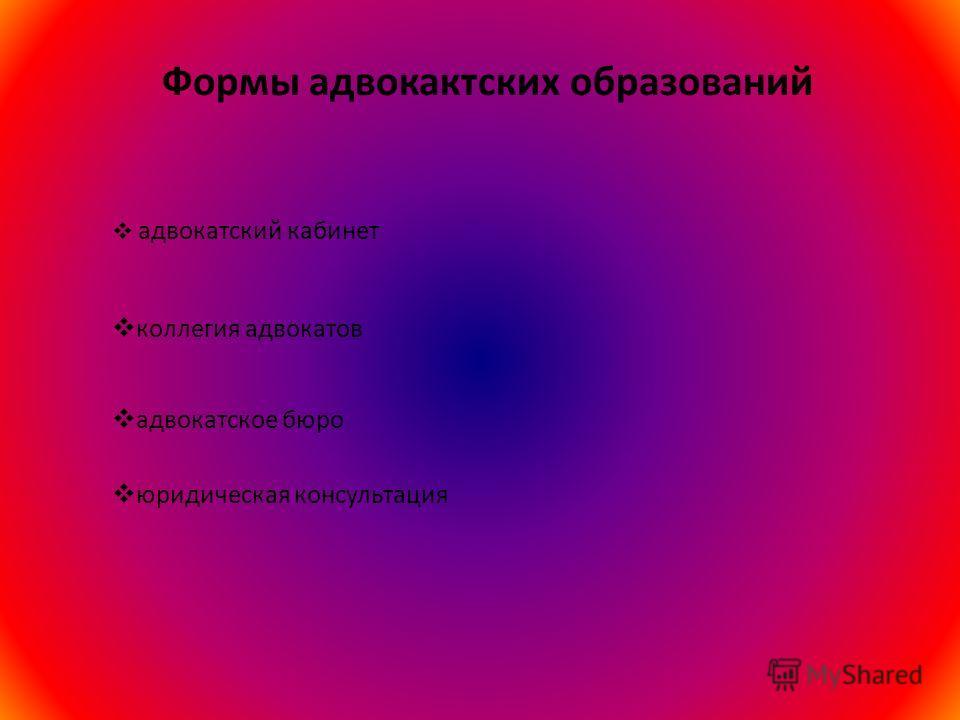 Формы адвокактских образований адвокатский кабинет коллегия адвокатов адвокатское бюро юридическая консультация