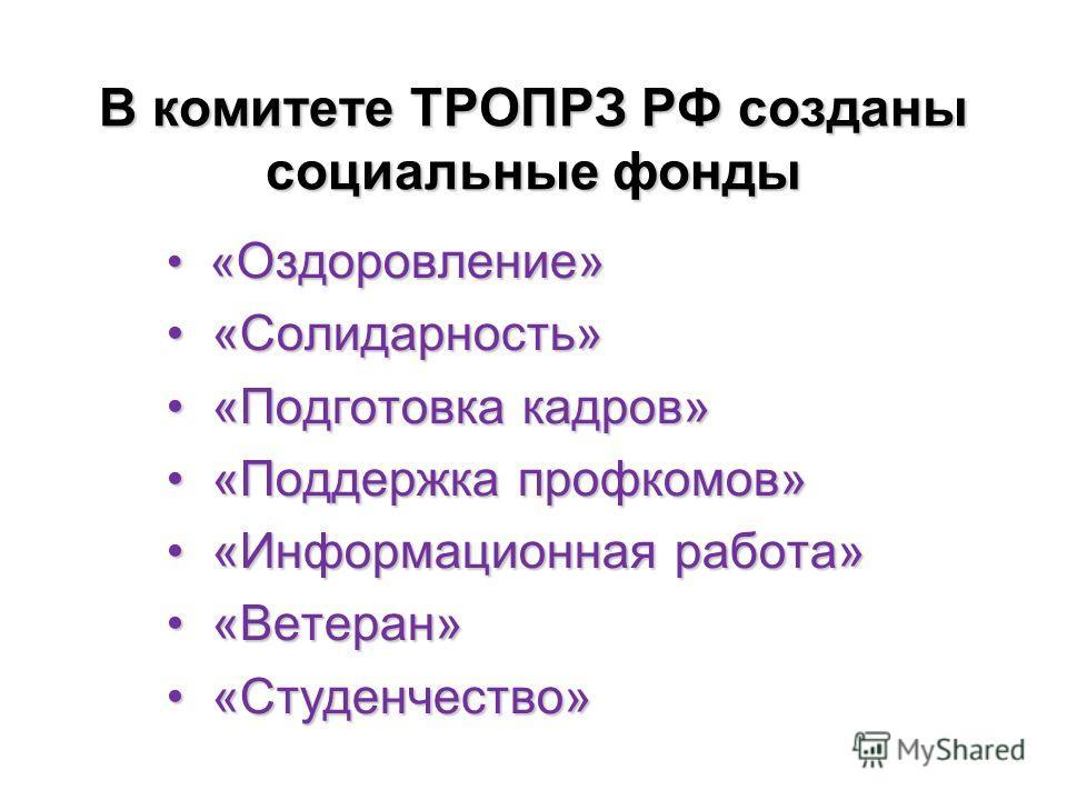 В комитете ТРОПРЗ РФ созданы социальные фонды « Оздоровление» « Оздоровление» «Солидарность» «Солидарность» «Подготовка кадров» «Подготовка кадров» «Поддержка профкомов» «Поддержка профкомов» «Информационная работа» «Информационная работа» «Ветеран»