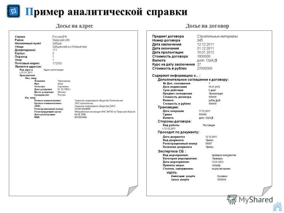 Пример аналитической справки Досье на договор Досье на адрес