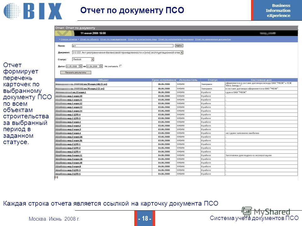 Business Information eXperience - 18 - Система учета документов ПСО Москва Июнь 2008 г. Отчет по документу ПСО Отчет формирует перечень карточек по выбранному документу ПСО по всем объектам строительства за выбранный период в заданном статусе. Каждая