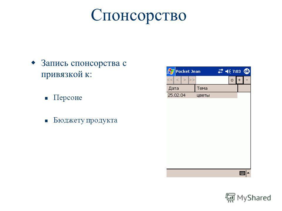 Спонсорство Запись спонсорства с привязкой к: Персоне Бюджету продукта