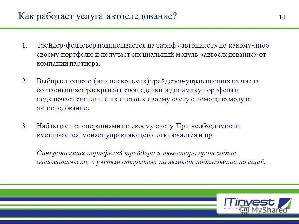 Как работает услуга автоследование? 14 1.Трейдер - фолловер подписывается на тариф « автопилот » по какому - либо своему портфелю и получает специальный модуль « автоследование » от компании партнера. 2.Выбирает одного ( или нескольких ) трейдеров -