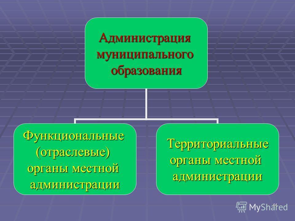 44Администрациямуниципальногообразования Функциональные(отраслевые) органы местной администрацииТерриториальные администрации
