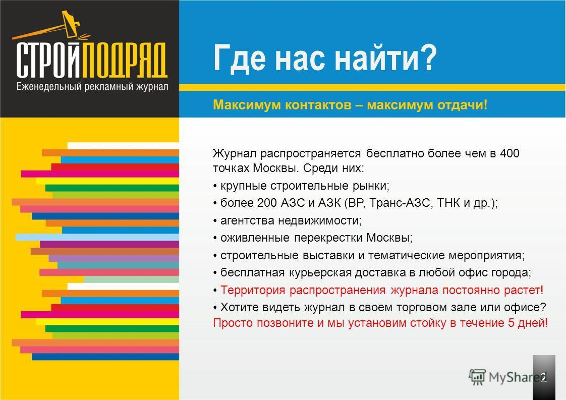 Где нас найти? Журнал распространяется бесплатно более чем в 400 точках Москвы. Среди них: крупные строительные рынки; более 200 АЗС и АЗК (BP, Транс-АЗС, ТНК и др.); агентства недвижимости; оживленные перекрестки Москвы; строительные выставки и тема