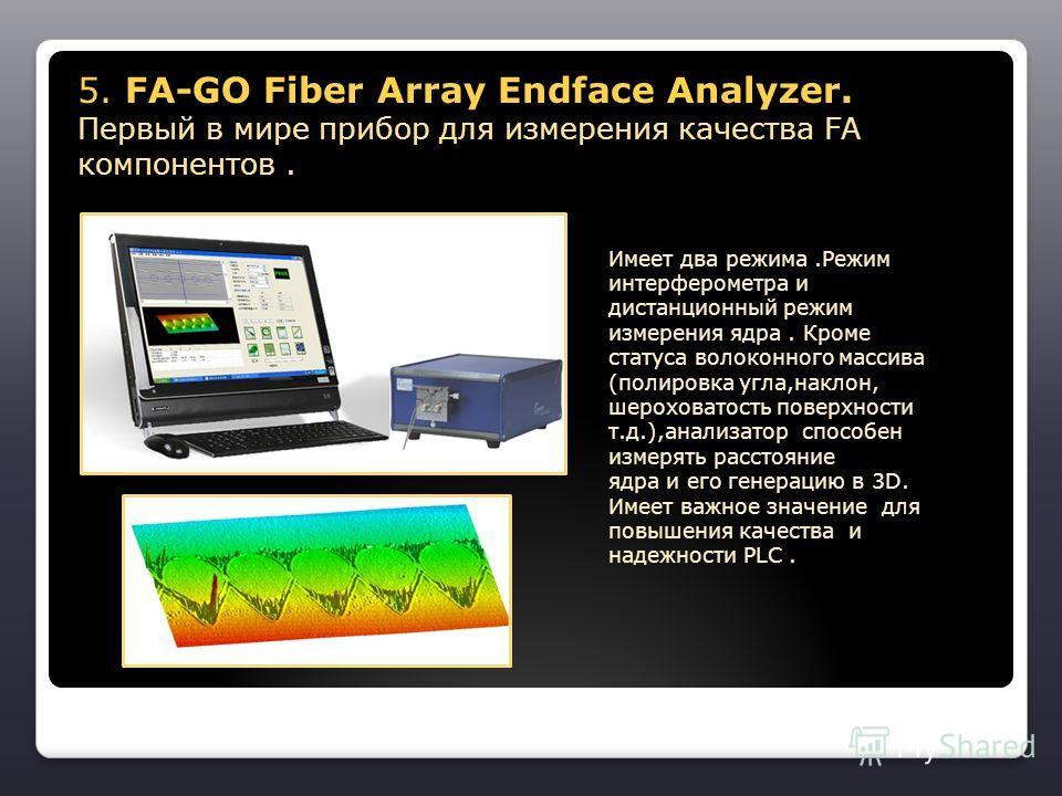 5. FA-GO Fiber Array Endface Analyzer. Первый в мире прибор для измерения качества FA компонентов. 5. FA-GO Fiber Array Endface Analyzer. Первый в мире прибор для измерения качества FA компонентов. Имеет два режима.Режим интерферометра и дистанционны