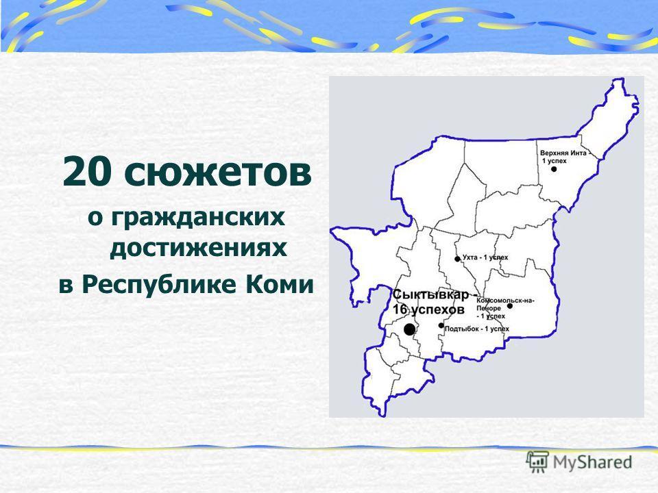 20 сюжетов о гражданских достижениях в Республике Коми