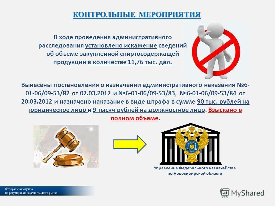 Вынесены постановления о назначении административного наказания 6- 01-06/09-53/82 от 02.03.2012 и 6-01-06/09-53/83, 6-01-06/09-53/84 от 20.03.2012 и назначено наказание в виде штрафа в сумме 90 тыс. рублей на юридическое лицо и 9 тысяч рублей на долж