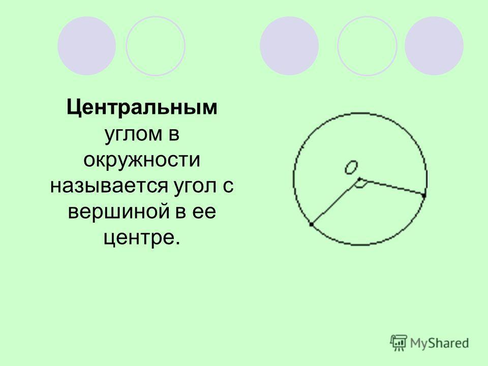 Центральным углом в окружности называется угол с вершиной в ее центре.