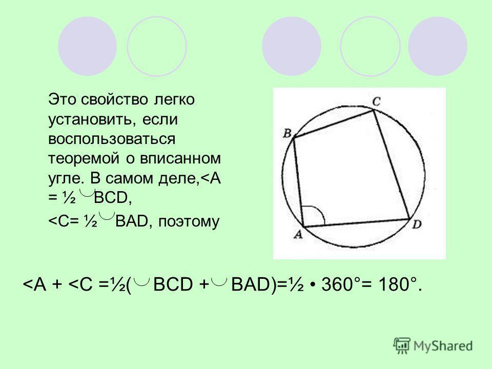 Это свойство легко установить, если воспользоваться теоремой о вписанном угле. В самом деле,