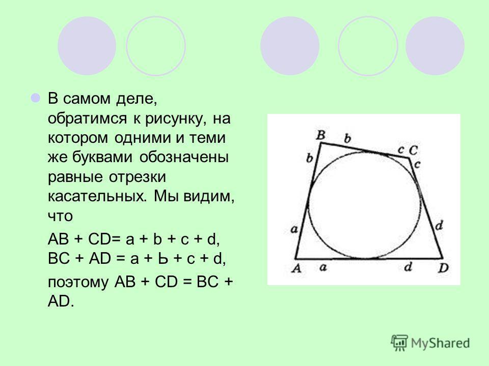 В самом деле, обратимся к рисунку, на котором одними и теми же буквами обозначены равные отрезки касательных. Мы видим, что АВ + СD= a + b + c + d, ВС + АD = a + Ь + с + d, поэтому АВ + СD = ВС + АD.