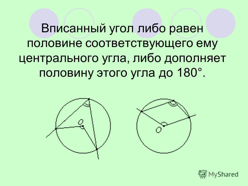 Вписанный угол либо равен половине соответствующего ему центрального угла, либо дополняет половину этого угла до 180°.