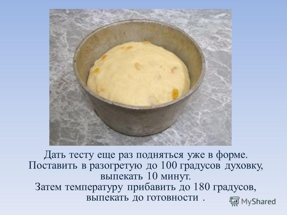 Дать тесту еще раз подняться уже в форме. Поставить в разогретую до 100 градусов духовку, выпекать 10 минут. Затем температуру прибавить до 180 градусов, выпекать до готовности.