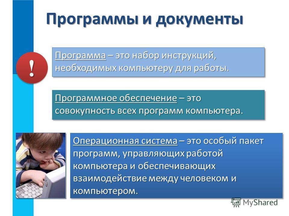 Программы и документы Программа – это набор инструкций, необходимых компьютеру для работы. !! Программное обеспечение – это совокупность всех программ компьютера. Операционная система – это особый пакет программ, управляющих работой компьютера и обес