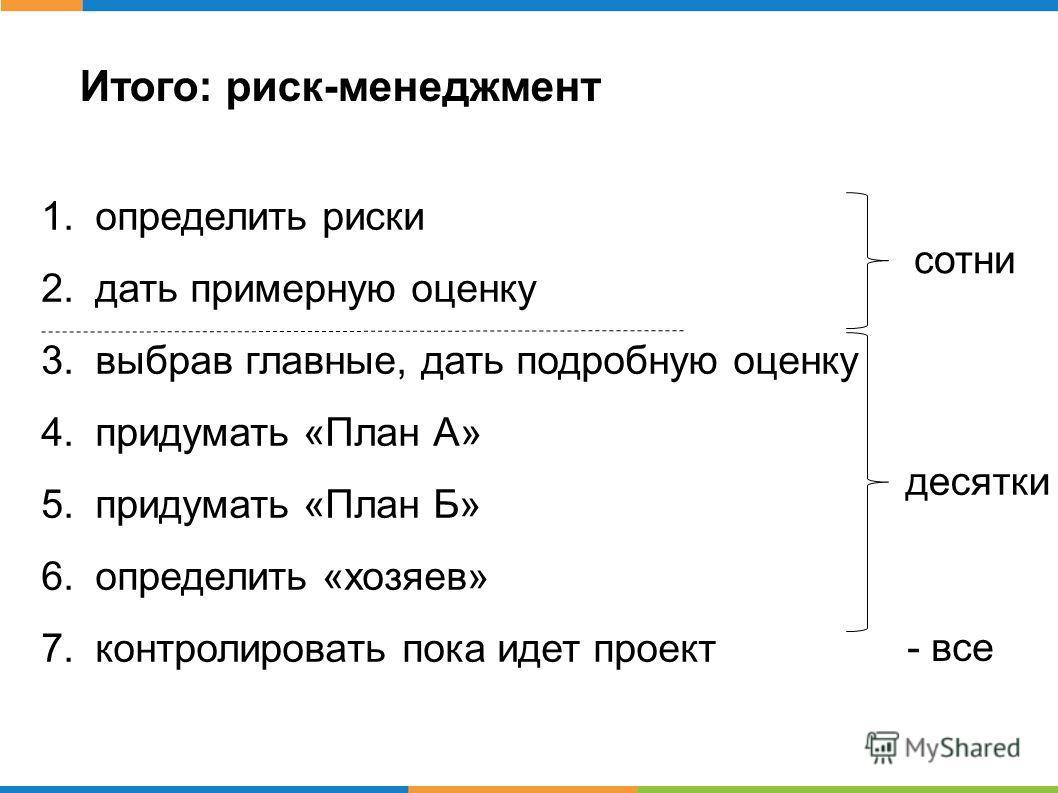 Итого: риск-менеджмент 1.определить риски 2.дать примерную оценку 3.выбрав главные, дать подробную оценку 4.придумать «План А» 5.придумать «План Б» 6.определить «хозяев» 7.контролировать пока идет проект сотни десятки - все