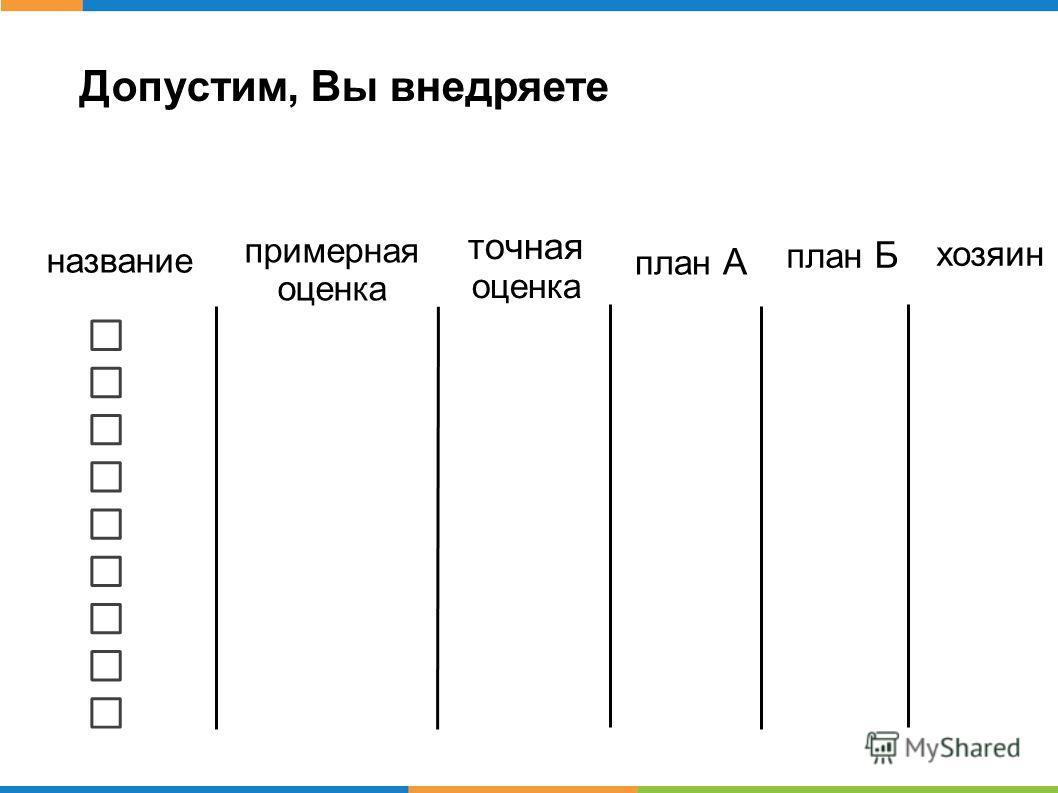 Допустим, Вы внедряете название примерная оценка точная оценка план А план Б хозяин