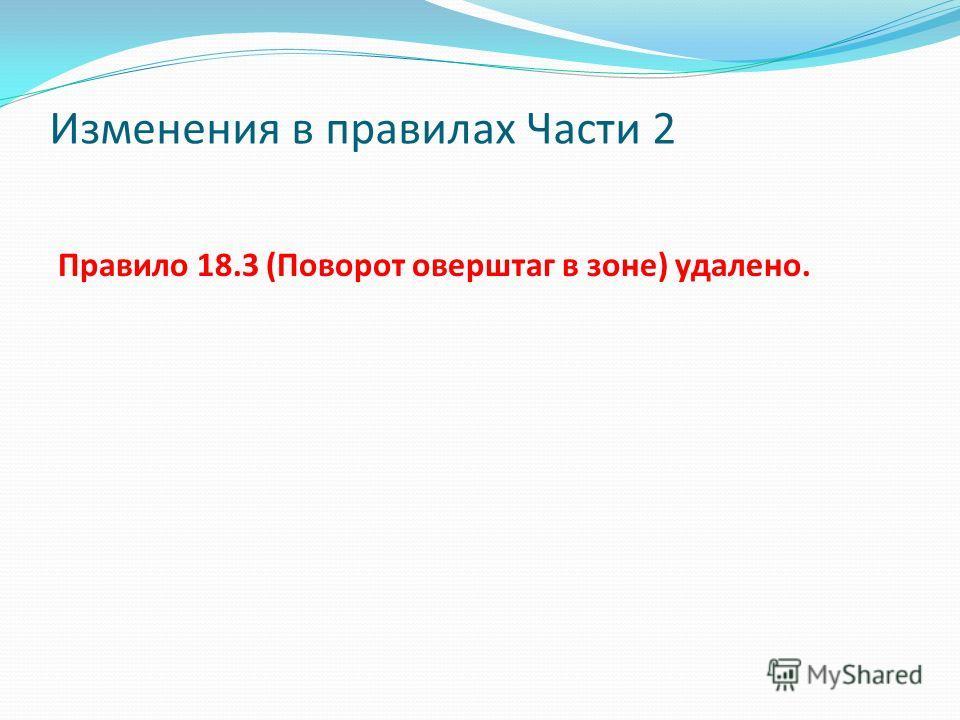 Изменения в правилах Части 2 Правило 18.3 (Поворот оверштаг в зоне) удалено.