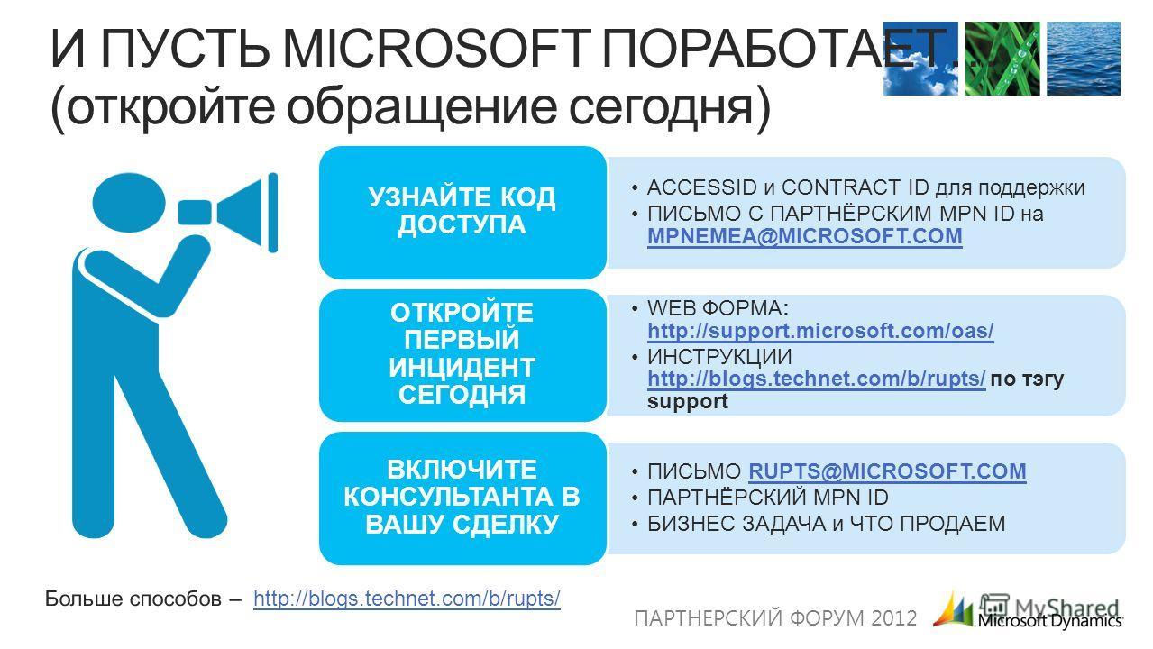 ACCESSID и CONTRACT ID для поддержки ПИСЬМО С ПАРТНЁРСКИМ MPN ID на MPNEMEA@MICROSOFT.COM MPNEMEA@MICROSOFT.COM УЗНАЙТЕ КОД ДОСТУПА WEB ФОРМА: http://support.microsoft.com/oas/ http://support.microsoft.com/oas/ ИНСТРУКЦИИ http://blogs.technet.com/b/r