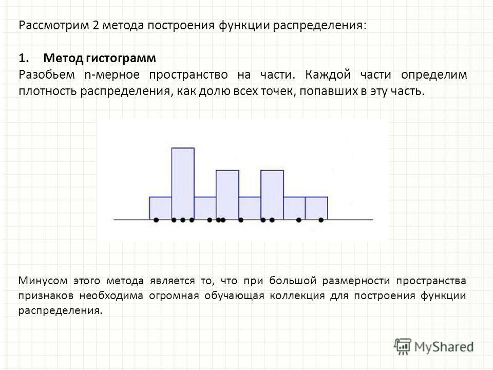 Рассмотрим 2 метода построения функции распределения: 1.Метод гистограмм Разобьем n-мерное пространство на части. Каждой части определим плотность распределения, как долю всех точек, попавших в эту часть. Минусом этого метода является то, что при бол