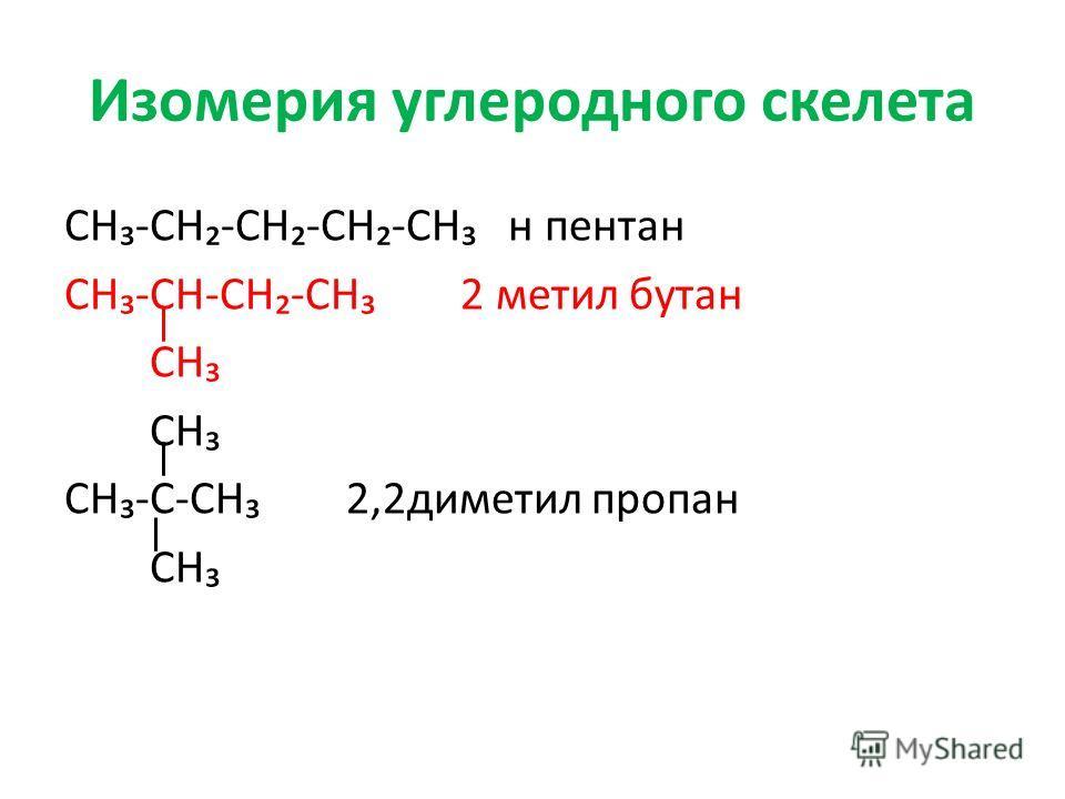 Изомерия углеродного скелета СН-СН-СН-СН-СН н пентан СН-СН-СН-СН 2 метил бутан СН СН-С-СН 2,2диметил пропан СН