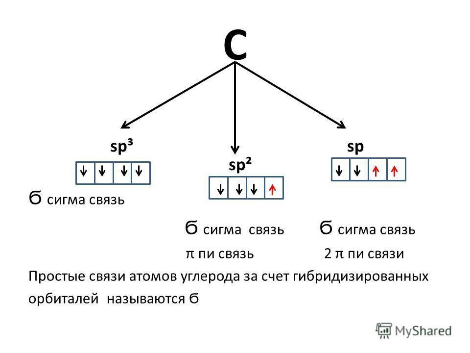 С Ϭ сигма связь Ϭ сигма связь Ϭ сигма связь π пи связь 2 π пи связи Простые связи атомов углерода за счет гибридизированных орбиталей называются Ϭ sp³ sp² sp