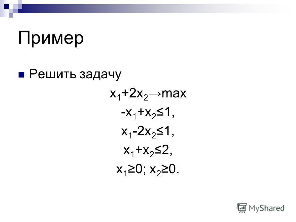 Пример Решить задачу x 1 +2x 2 max -x 1 +x 21, x 1 -2x 21, x 1 +x 22, x 1 0; x 2 0.