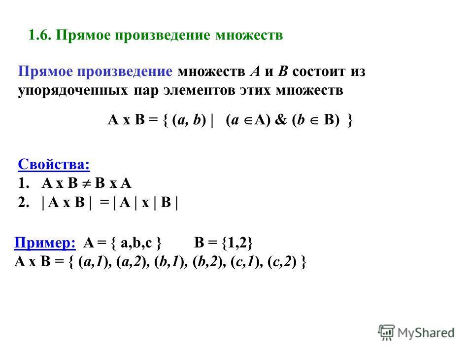 1.6. Прямое произведение множеств Прямое произведение множеств А и В состоит из упорядоченных пар элементов этих множеств А x B = { (a, b) | (a A) & (b B) } Свойства: 1.A x B B x A 2.| A x B | = | A | x | B | Пример: A = { a,b,c } B = {1,2} A x B = {