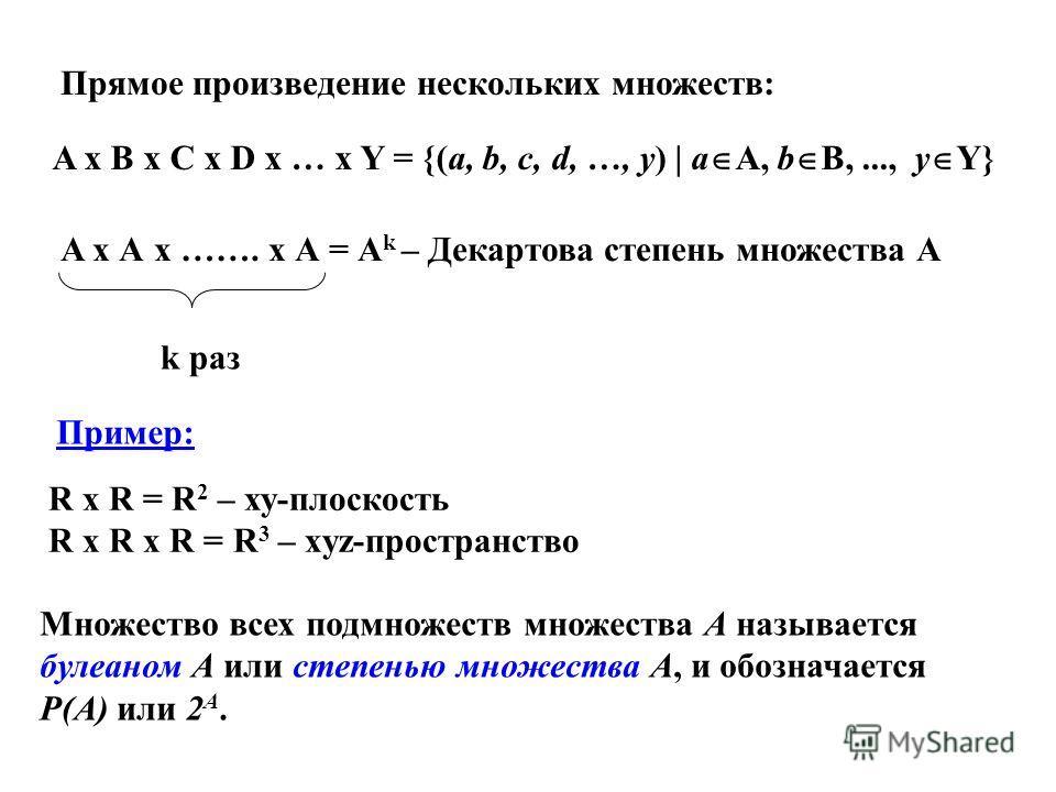 Множество всех подмножеств множества A называется булеаном A или степенью множества A, и обозначается Р(А) или 2 A. A x B x C x D x … x Y = {(a, b, c, d, …, y) | a A, b B,..., y Y} Прямое произведение нескольких множеств: A x А x ……. x А = А k – Дека