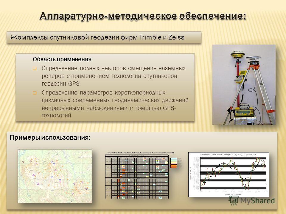 Область применения Определение полных векторов смещения наземных реперов с применением технологий спутниковой геодезии GPS Определение параметров короткопериодных цикличных современных геодинамических движений непрерывными наблюдениями с помощью GPS-